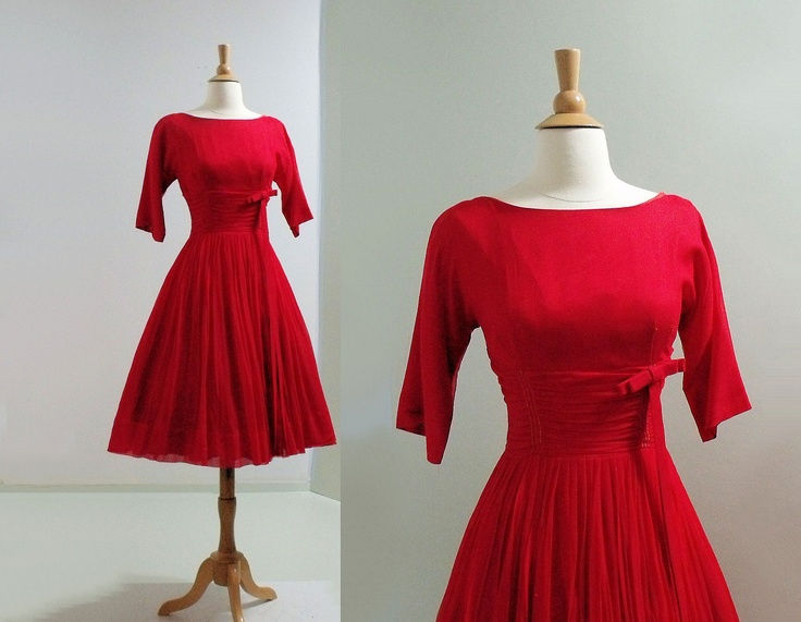 1960s dress red chiffon bust 34 vintage christmas dress