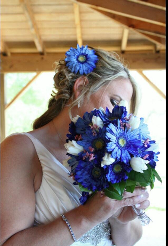 blue gerbera daisy bouquet wedding ideas pinterest