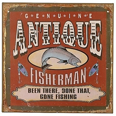Antique fisherman tin sign fishing signs pinterest for Vintage fishing signs