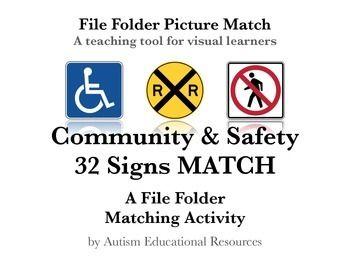 autism file folder picture match 32 community safety signs. Black Bedroom Furniture Sets. Home Design Ideas