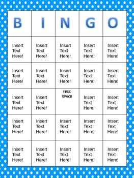 Blank Bingo Cards! Editable PPT file!