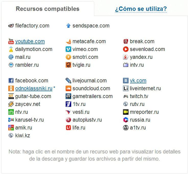 Recursos compatibles con Savefrom.net