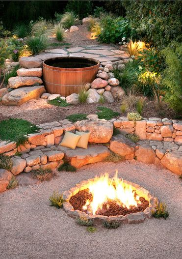 soaking tub / fireplace