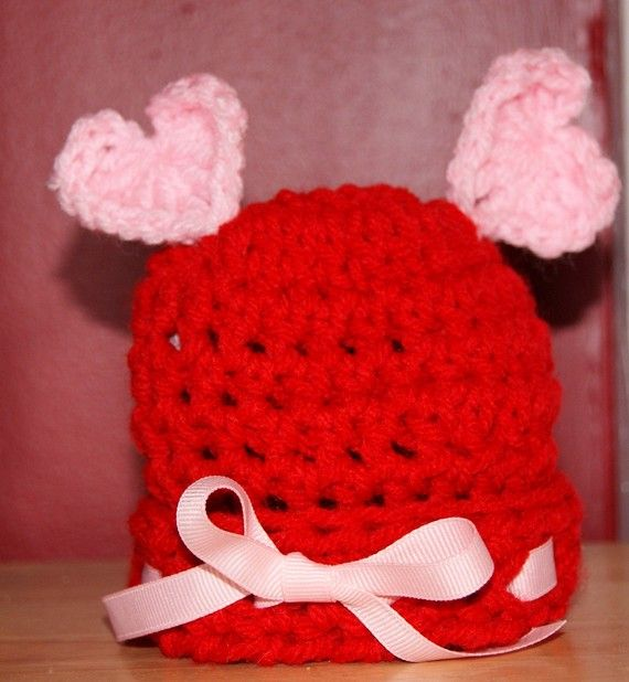 Crochet Valentine Hat : Crocheted Valentines Day Hat Crochet Pinterest