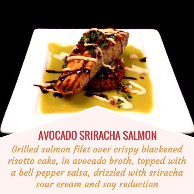 AVOCADO SRIRACHA SALMON -- Grilled salmon filet over crispy blackened ...