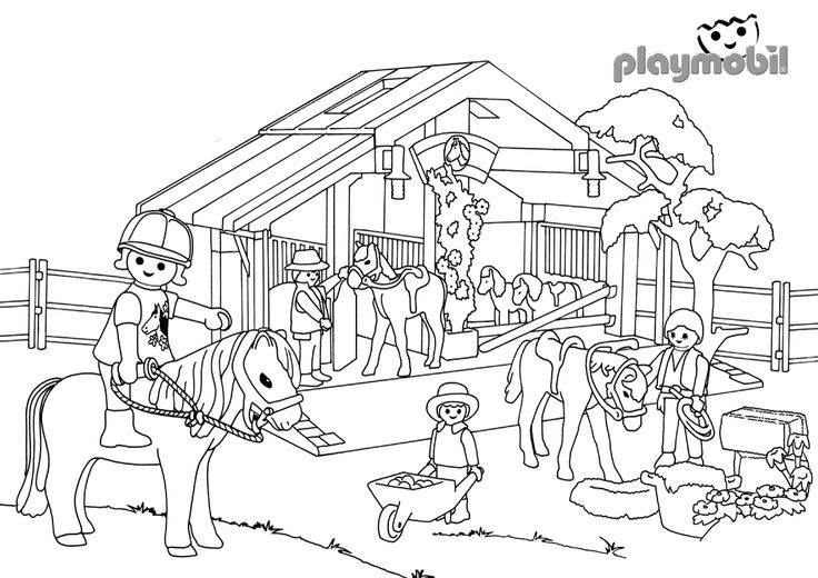 Playmobil western coloring pages sketch coloring page - Pferde playmobil ...