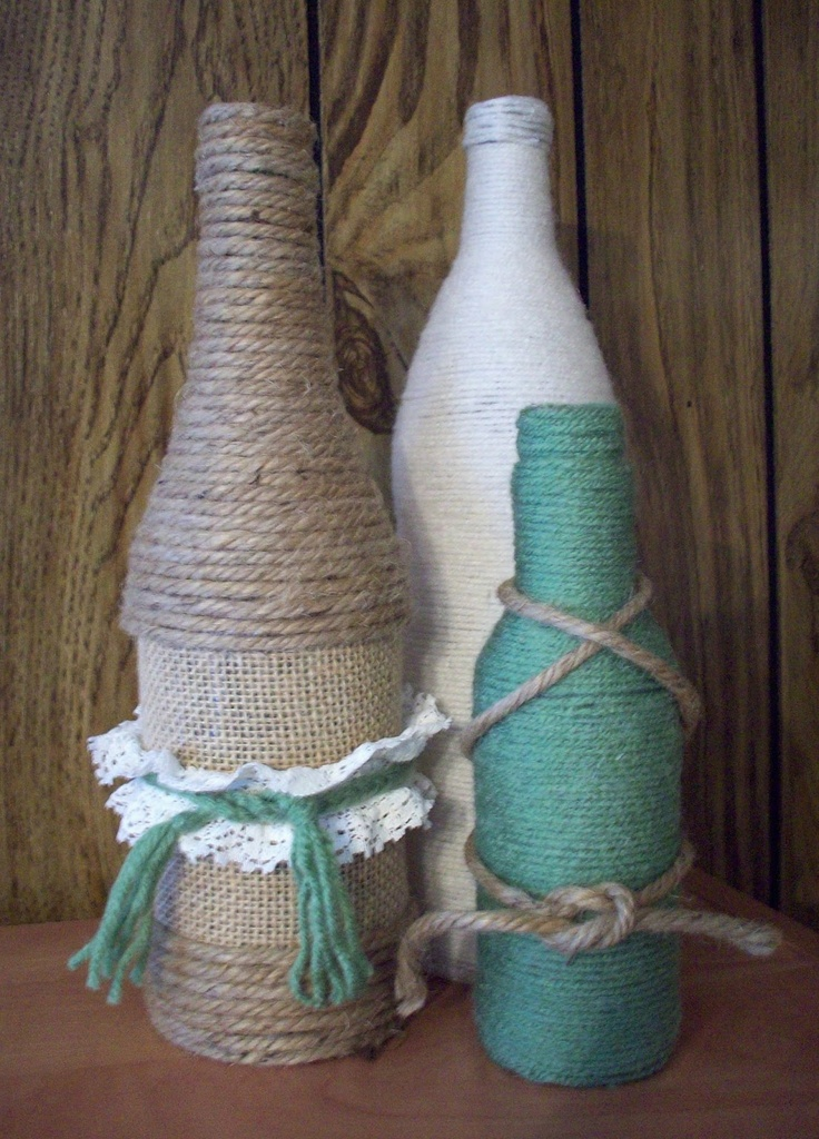 Yarn and Twine Wrapped Bottles