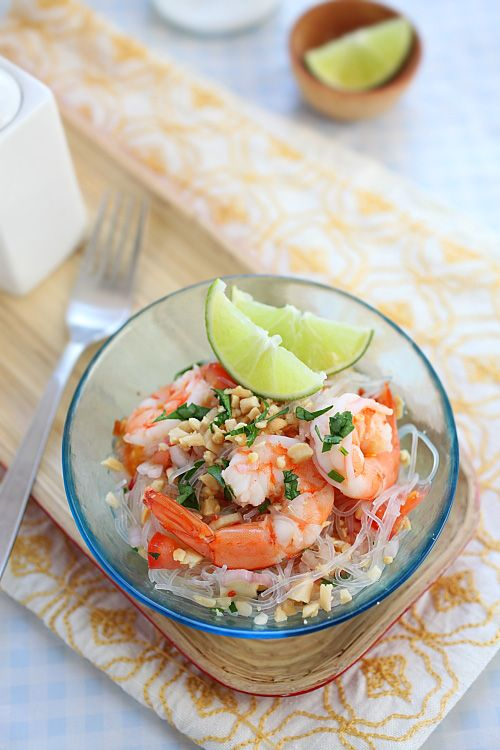 Yum Woon Sen (Thai Noodles Salad with Shrimp). A great appetizer! # ...