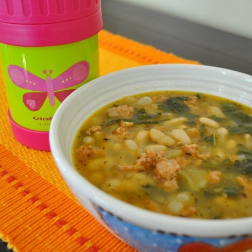 kale, white bean and sausage soup. we mashed up half the beans and ...