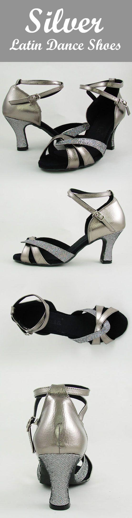 9amlatin.com: Latin Dance Shoes for Women. Color: Silver. Shoe size