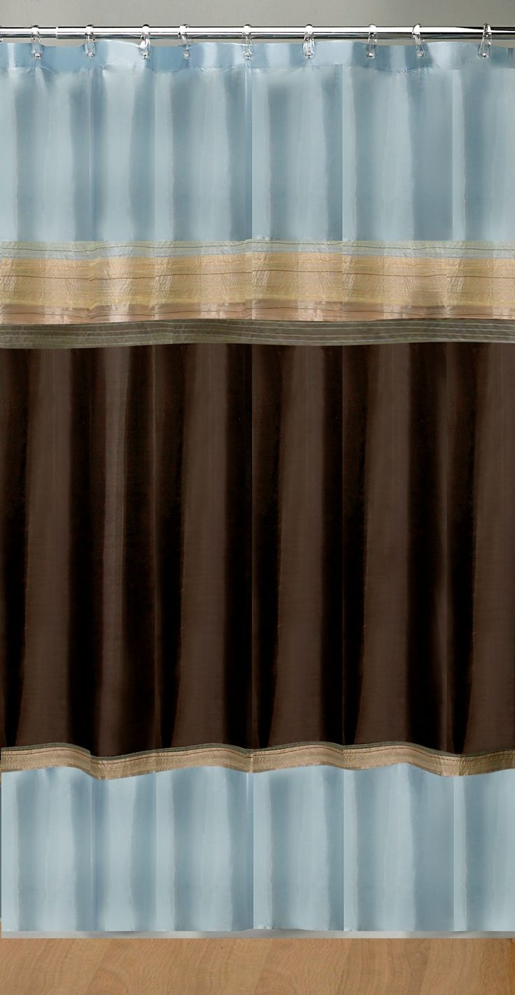 mystique shower curtain brown and blue