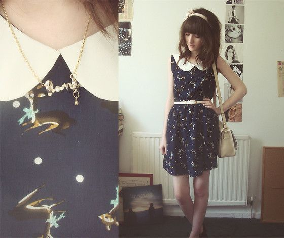 Romwe Deer Print Dress, Oasap Satchel, Rings And Tings Love Necklace