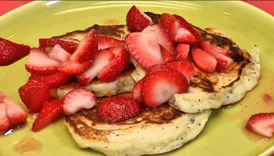 Lemon, ricotta, poppy seed pancakes with strawberries and maple syrup ...