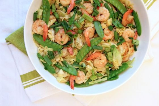 Shrimp and Cabbage Stir Fry with Snow Peas | Feastie