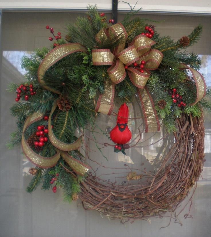 Front door wreath winter wreath wreath holiday wreath for Front door xmas wreaths