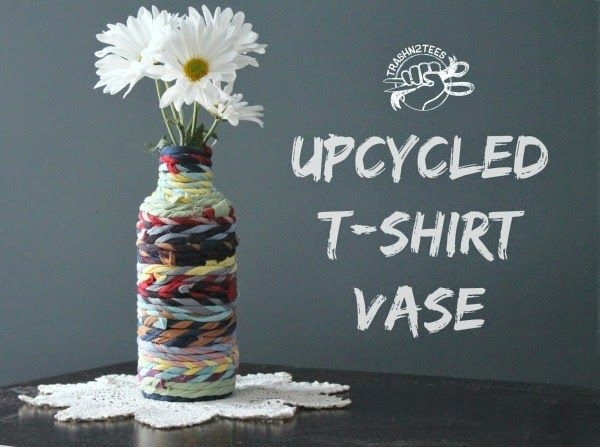 Upcycled T-shirt Vase Tutorial includes make continuous tshirt yarn ...