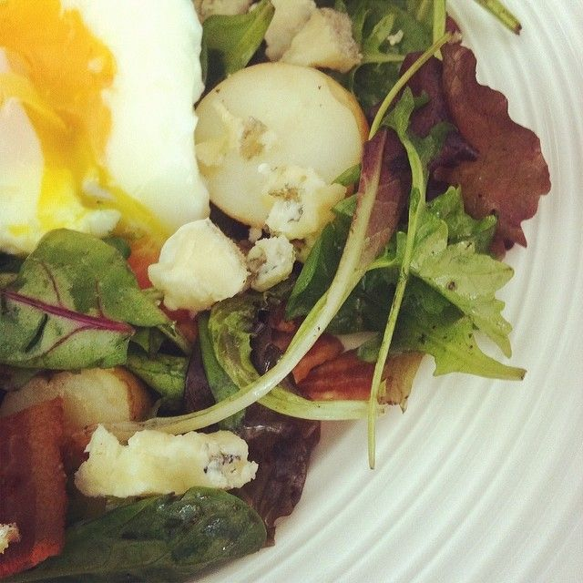 ... Baby kale with bacon, blue cheese, potatoes & poached egg. #cdncheese