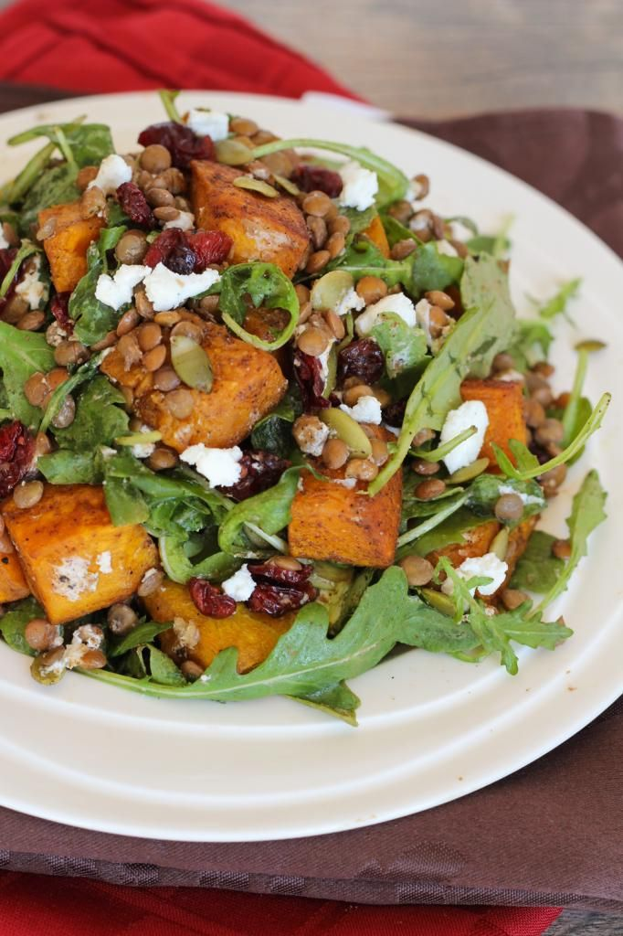 Spiced Squash, Lentil, & Goat Cheese Salad-yum. maybe sub something ...
