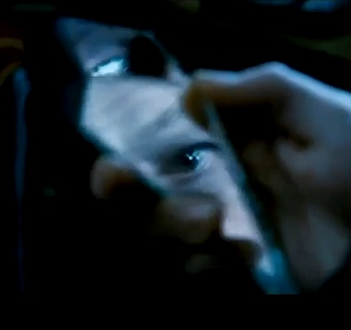 As Hermione is being tortured and interrogated by Bellatrix to find how the trio acquired the sword, Ron and Harry are locked in a cellar with Dean, Griphook, Garrick Ollivander and Luna. Hearing Hermione's cries, Harry locates his broken shard of mirror, sees a flash of blue in it resembling Dumbledore's eye and in desperation begs for help. (Harry Potter and the Deathly Hallows Part 1)