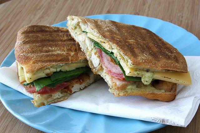 Grilled Chicken, Bacon & Smoked Gouda Panini Recipe with Pesto ...