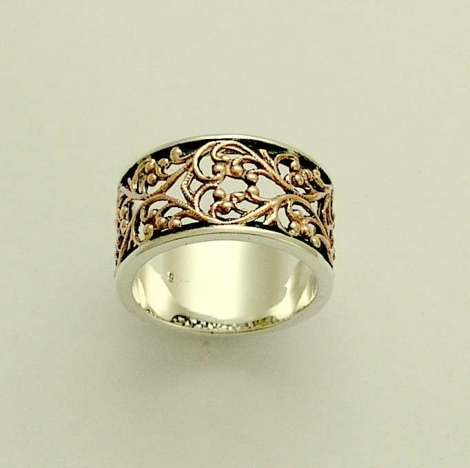 Sterling silver and rose gold filigree lace wedding band Karma