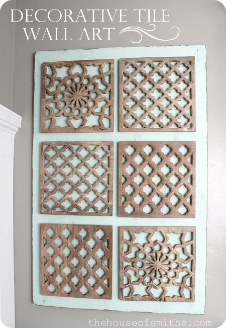 wooden tiles from World Market used as wall art