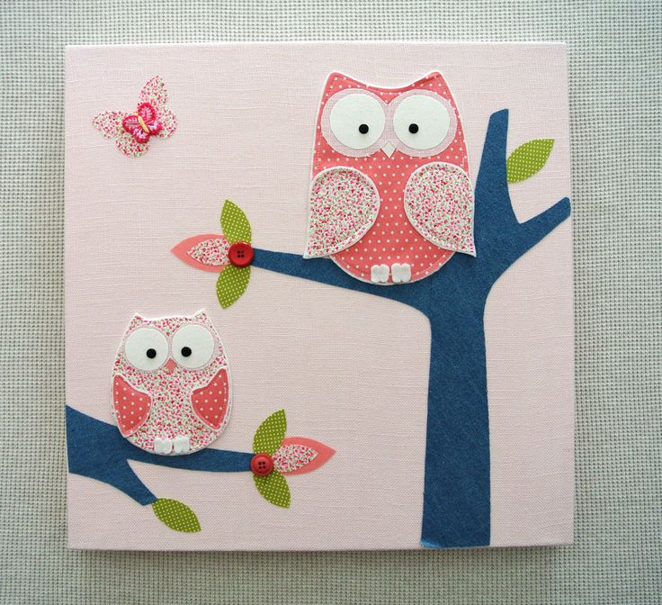 Girls owl canvases baby girl room owl canvas decor picture wall decal kids bedroom - Girl owl decor ...