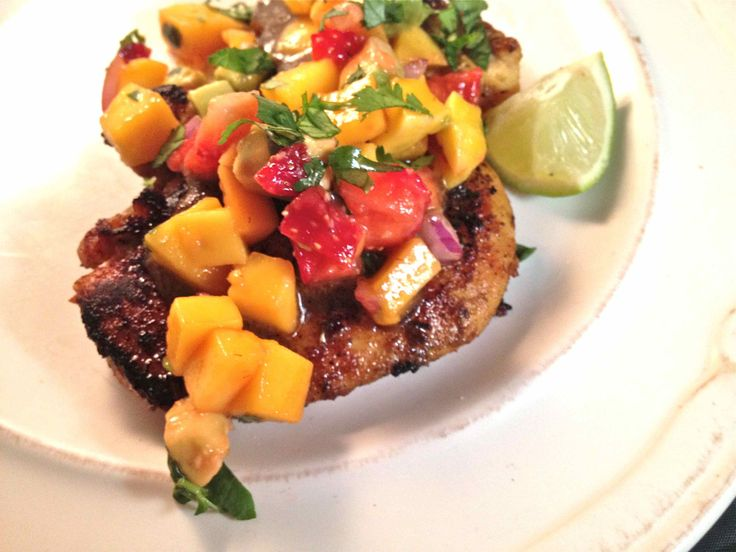 lime & coconut-marinated chicken with a fresh fruit salsa topping
