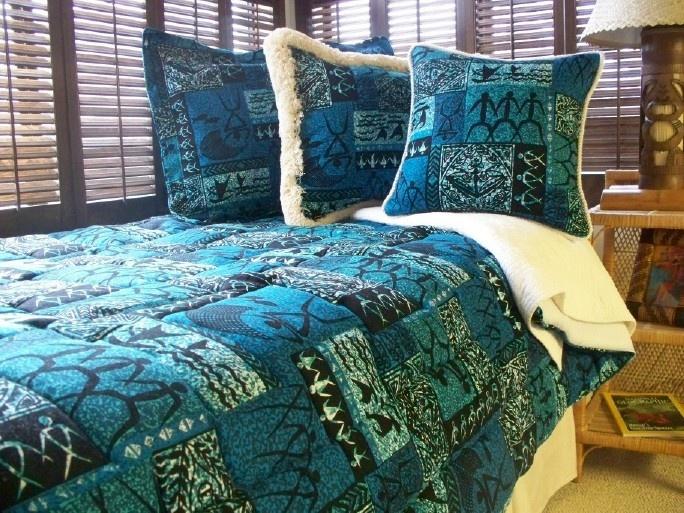 Hawaiian Print Comforters: Blue Hawaiian Print Bedding