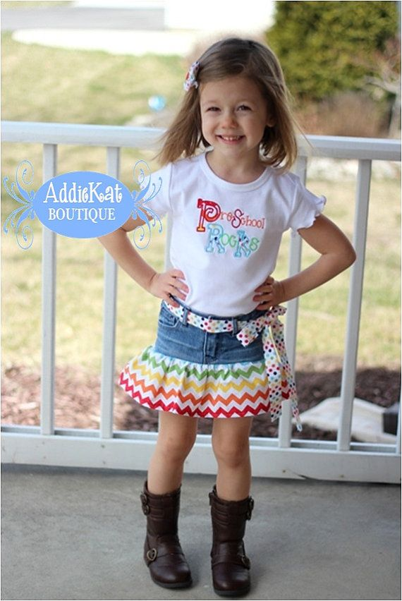 Personalized Preschool Outfit - Rainbow Chevron and Polka Dots on Etsy ...