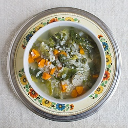 Classic escarole soup gets a bit of an upgrade with rice and chicken ...