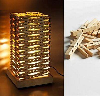 L mpara con ganchitos de madera reciclaje pinterest - Manualidades con madera ...