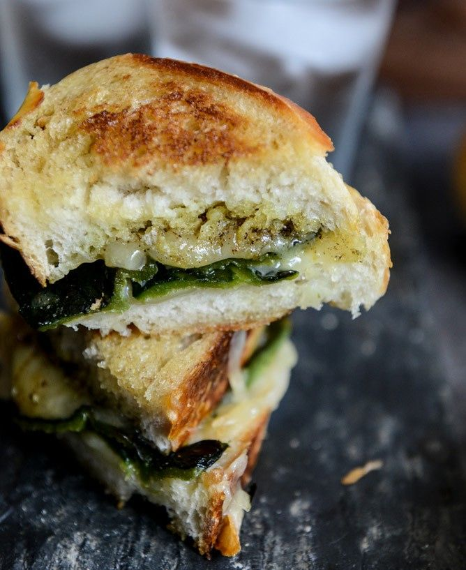 Grilled cheese with poblano peppers and curried butter. Recipe from @how sweet eats