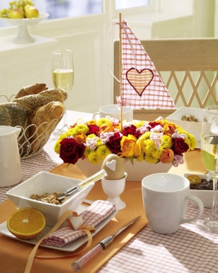 Valentines day breakfast table with sail boat
