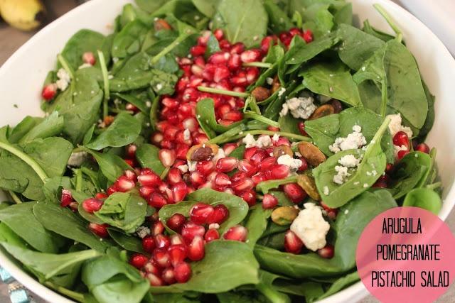 Arugula With Pomegranates, Blue Cheese And Pistachios Recipe ...