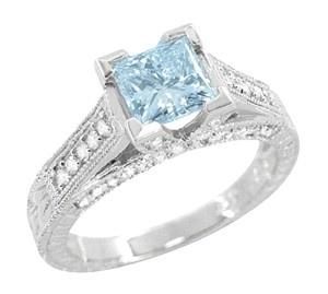 Kisses 1 Carat Princess Cut Aquamarine Engagement Ring in 18 ...