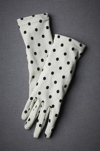 Ebony-Flecked Gloves $40.00 #BHLDN #gloves #dots #polkadots #black #white