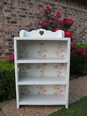 Shabby vintage painted roses bookcase cottage chic bookshelf display