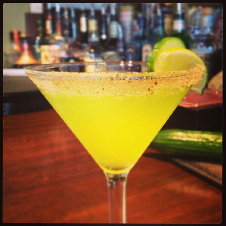 Fresh Cucumber Melon Margarita w/ Smoked Sugar Rim #christiansbistro