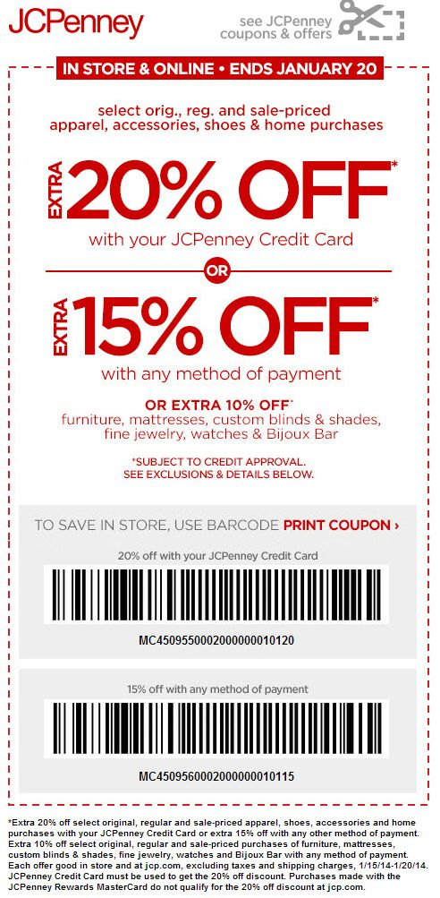 Jcpenney 15 percent off printable coupons 2018