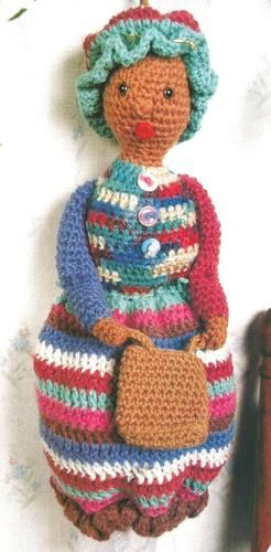 Crochet Pattern For Bags Plastic : Crochet Pattern for a BAG LADY (holds plastic bags)
