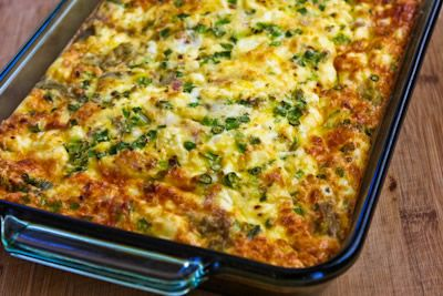 Another low-carb breakfast casserole: Artichokes, Goat Cheese, Green ...