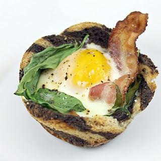 bacon egg amp toast cups with spinach
