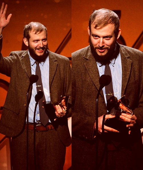 """Justin Vernon of Bon Iver accepts the award for Best Alternative Music Album for """"Bon Iver"""" onstage at the 54th Annual GRAMMY Awards"""
