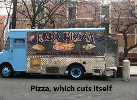 Emo pizza it cuts itself