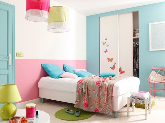 Chambre fille turquoise et rose sweet bedroom pinterest - Chambre rose et turquoise ...