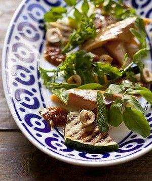 ... salad with grilled zucchini and hazelnuts and kasundi tomato relish