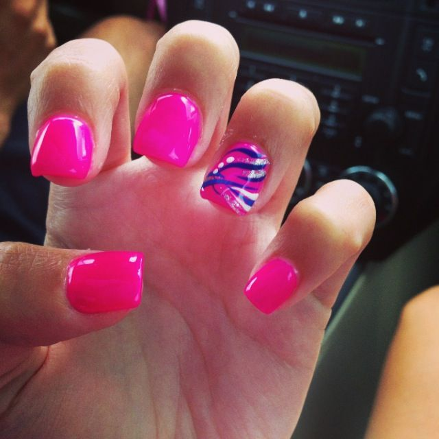 Hot Pink Nails With Designs Images Nail Art And Design Ideas