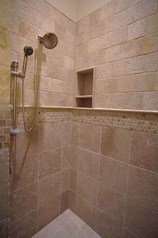 Travertine tile shower coastal homes pinterest for Travertine tile designs