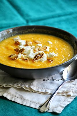 ... Calabaza Pumpkin Soup with Maple Roasted Pumpkin Seeds and Goat Cheese